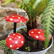 Set of 3 painted mushrooms