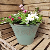 Medium height plastic green planter planted in pink and white
