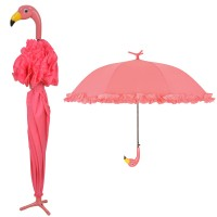 Standing Flamingo Umbrella with Ruffles