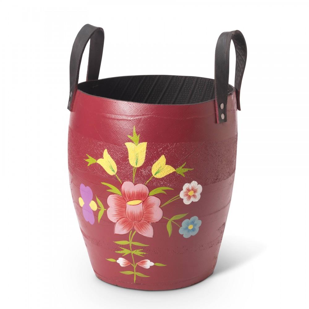 Pot De Fleur Avec Des Pneus pot en pneu recycl� – fleur rose
